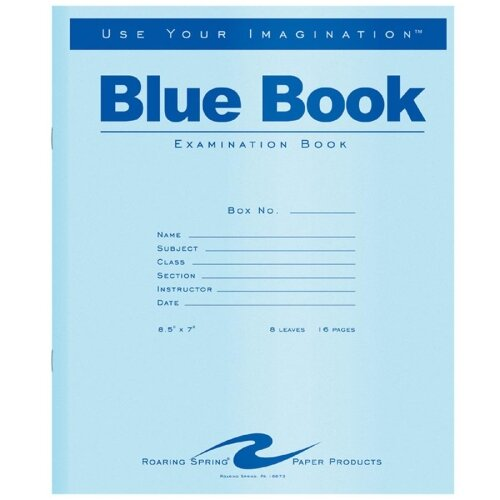 Roaring Spring Paper Products Exam Book, Wide Rule, 8-1/2 X 7