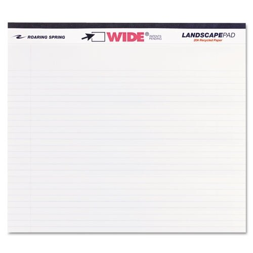 Roaring Spring Paper Products Landscape Format Writing Pad, College Ruled, 40 Sheets/Pad