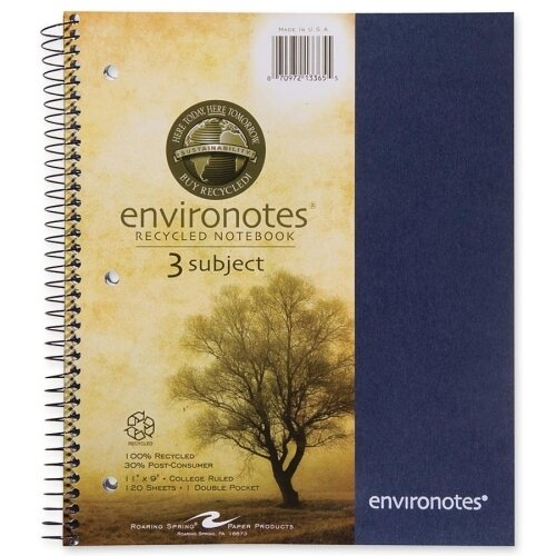 Roaring Spring Paper Products Three Subject Wirebound Notebook (120 Sheet)