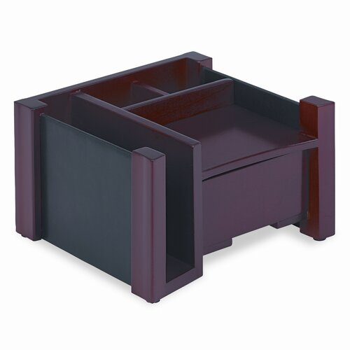Rolodex Corporation Desk Director, Wood, 7 1/8w x 6 3/4d x 4 1/8h, Black/Mahogany