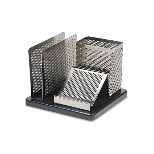 Distinctions Desk Organizer, Metal/Wood, 5 7/8 x 5 7/8 x 4 1/2, Black/Silver