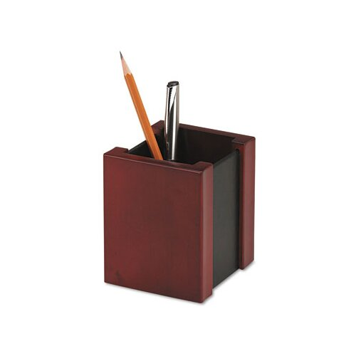 Rolodex Corporation Wood And Faux Leather Pencil Cup