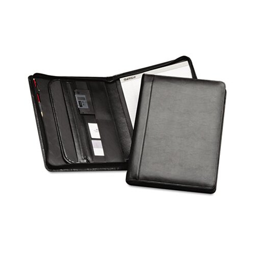 Samsill Corporation Leather Zipper Close Padfolio with Pad, Document File and Organizer Slots, Black
