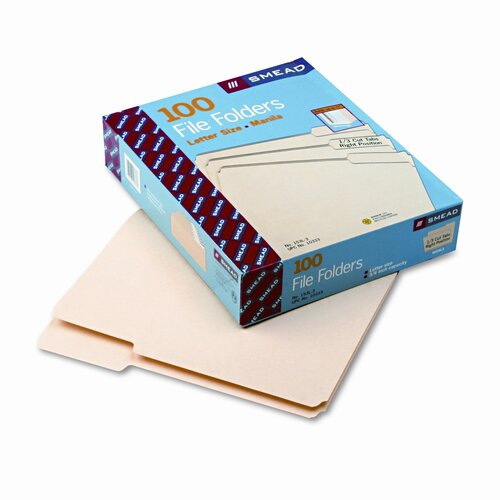 Smead Manufacturing Company 1/3 Cut Third Position One-Ply Top Tab File Folders, Letter, 100/Box