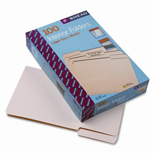 Smead Manufacturing Company Interior 1/3 Cut Top Tab File Folders, 100/Box