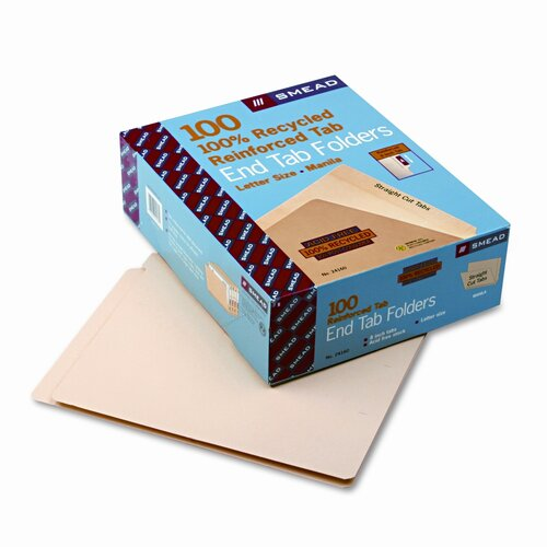 Smead Manufacturing Company End Tab Folders, 100/Box