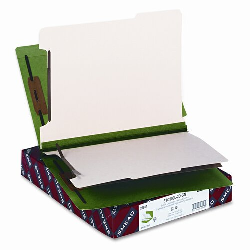 Smead Manufacturing Company Six-Section Colored End Tab Classification Folders, 10/Box
