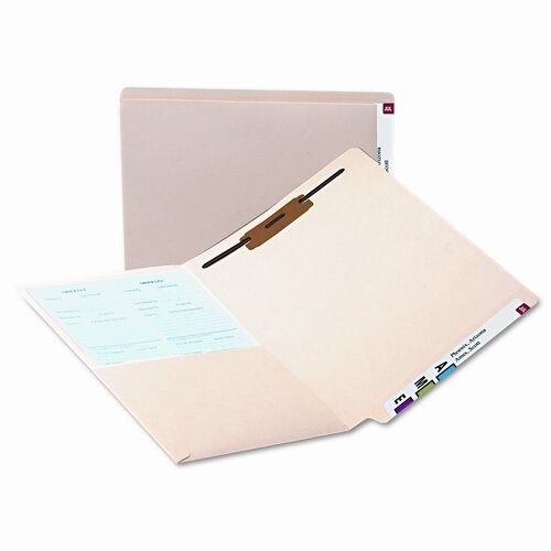 Smead Manufacturing Company Fastener Straight Cut Reinforced End Tab Pocket Folder, 50/Box