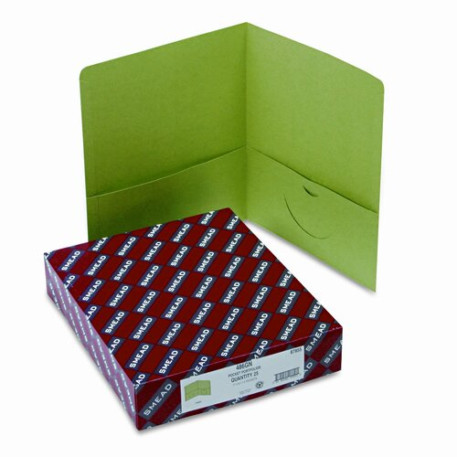 Smead Manufacturing Company Two-Pocket Portfolio, Embossed Leather Grain Paper, 100-Sheet Capacity, Green
