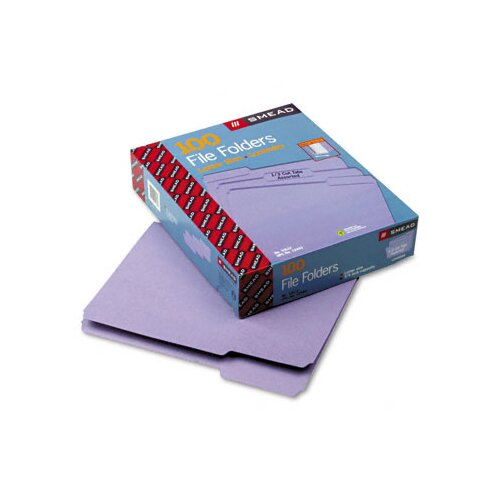 Smead Manufacturing Company 1/3 Cut Reinforced Top Tab File Folders, Letter, 100/Box