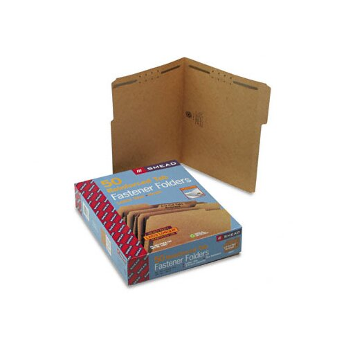 Smead Manufacturing Company Two Fasteners 1/3 Cut Top Tab 11 Point Kraft Folders, Letter, 50/Box