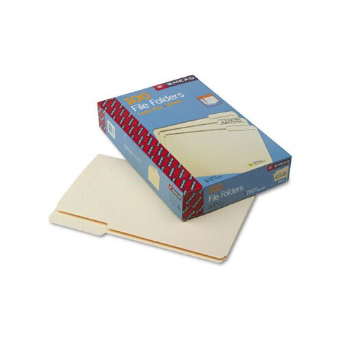 Smead Manufacturing Company 1/3 Cut Third Position One-Ply Top Tab File Folders, 100/Box
