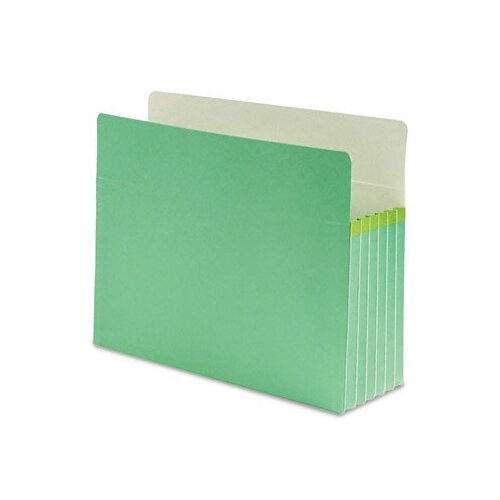 "Smead Manufacturing Company 5 1/4"" Expansion Colored File Pocket, Straight Tab, Letter, Green"