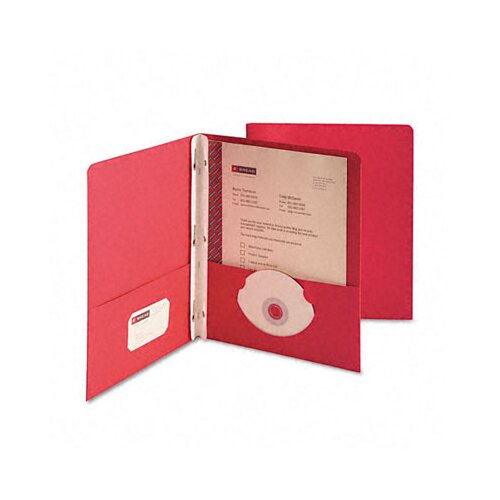 "Smead Manufacturing Company Paper Two-Pocket Portfolio, Tang Clip, Letter, 1/2"" Capacity, Red, 25 per Box"