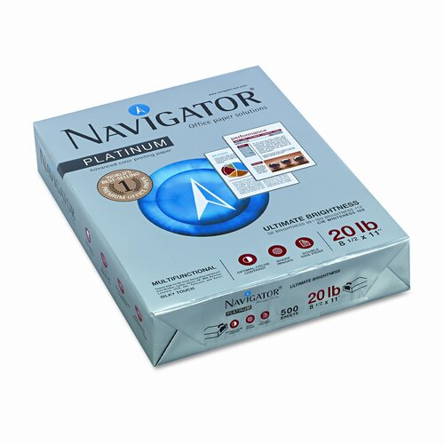 Soporcel North America Navigator Platinum Paper, 99 Brightness, 20Lb, 8-1/2 X 11, 2500/Carton