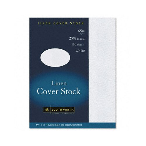 Southworth Company 25% Cotton Linen Business Coverstock, 100/Box