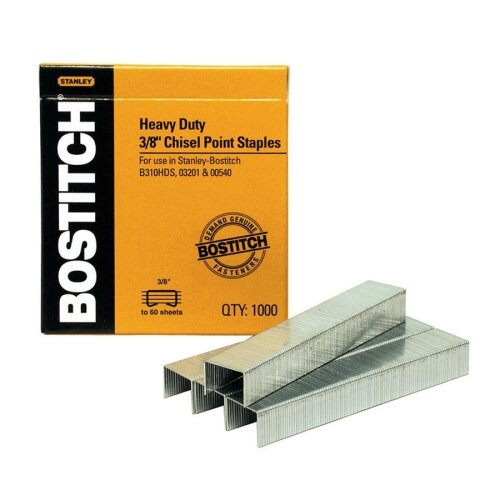 "Stanley Bostitch Heavy-Duty Staples, Use In B310HDS, 03201, 1/2""W, 3/8""L"
