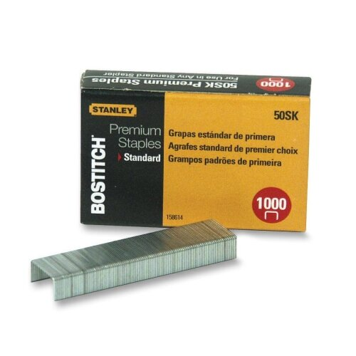 "Stanley Bostitch Standard Staples, 1/4"", 1000 per Box"