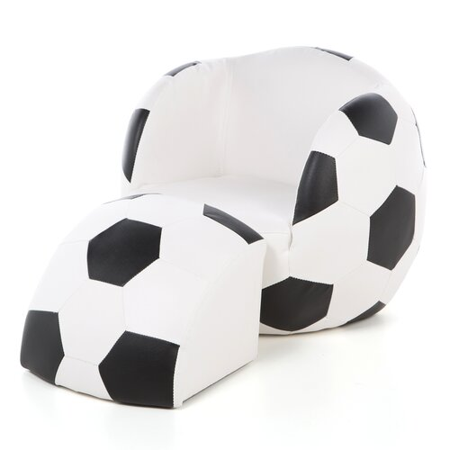 Soccer Ball Kid's Novelty Chair and Ottoman Set
