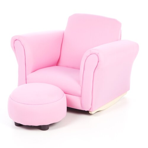 Gift Mark Upholstered Children's Chair and Ottoman Set