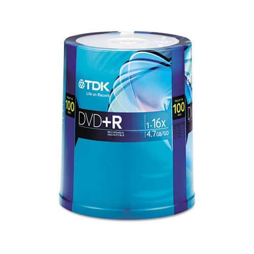 TDK DVD-R Discs 4.7Gb 16X Spindle, 100/Pack