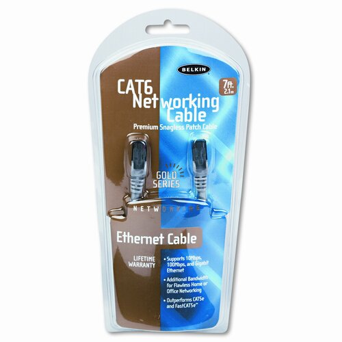 Belkin High Performance Cat6 UTP Patch Cable, 7ft, Gray
