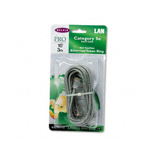 Belkin Cat5e 10/100 Base-T Patch Cable, Crimped, 10ft