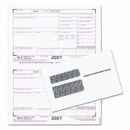 Tops Business Forms Tax Forms/W-2 Tax Forms Kit with 24 Forms, 24 Envelopes, 1 Form W-3
