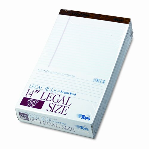 Tops Business Forms Perforated Pads, Legal Rule, Legal, 50 Sheets, 12-Pack