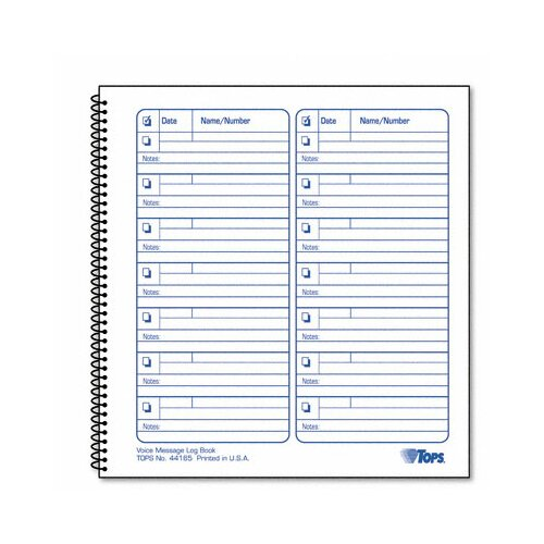 Tops Business Forms Voice Mail Log Book, 1,400-Message Book