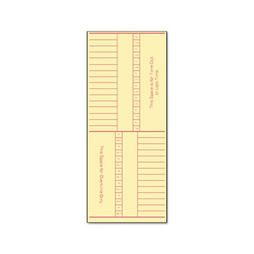 Tops Business Forms Time Card for Cincinnati, Named Days, Two-Sided, 500/Box