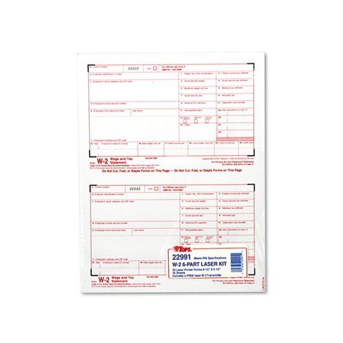 Tops Business Forms W-2 Tax Form Six-Part Carbonless, 50 Forms