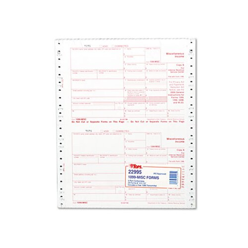 Tops Business Forms IRS Approved 1099 Tax Form Five-Part Carbonless, 24 Forms