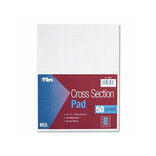 Tops Business Forms Section Pads, 8 Squares, Quadrille Rule, Letter, 50 Sheets / Pad