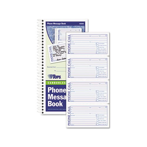 Tops Business Forms Spiralbound Message Book, Carbonless Duplicate, 600-Set Book