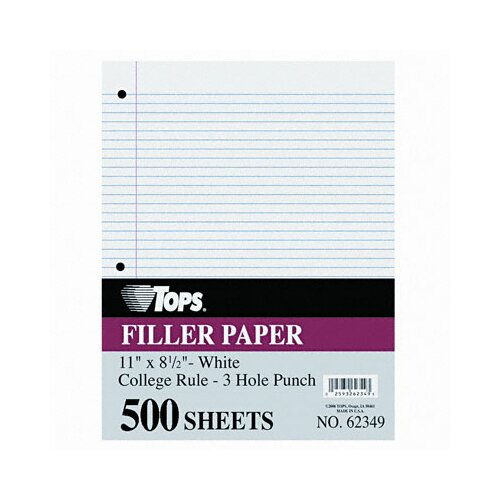 Tops Business Forms Filler Paper College Rule, 500/Pack