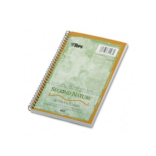 Tops Business Forms Second Nature Subject Wirebound Notebook, Narrow Rule, 80 Sheets