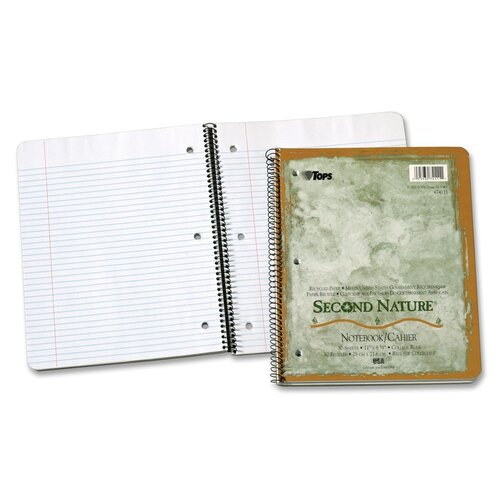 Tops Business Forms Second Nature Subject Wirebound Notebook, College Rule, Letter, White