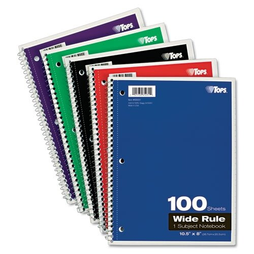 Tops Business Forms Wirebound 1-Subject Notebook, Wide Rule, 100 Sheets/Pad