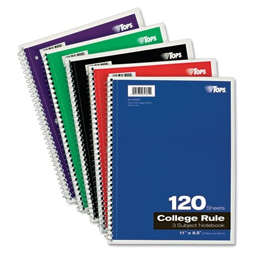 Tops Business Forms Wirebound 3-Subject Notebook, College Rule, 120 Sheets/Pad