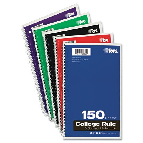 Tops Business Forms Wirebound 3-Subject Notebook, College Rule, 150 Sheets/Pad