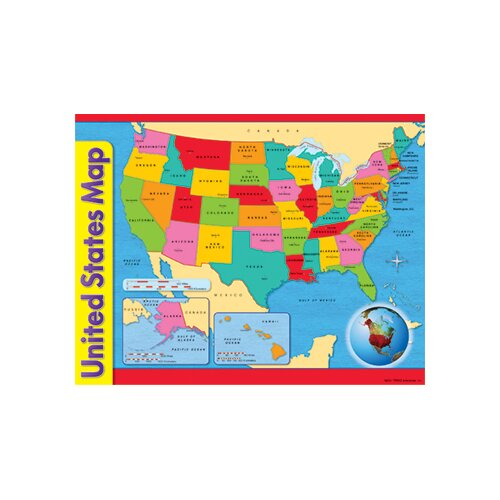 Trend Enterprises Chart Usa Map 17 X 22 Gr 1-8