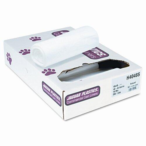 Jaguar Plastics® Super Extra-Heavy Liners, 45 Gal, 16 Mic, 40 X 48, 200/Carton