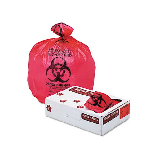 "Unisan Health Care ""Bio-hazard"" Printed Liners, 1.3mil, 36 x 58, Red, 100 per Carton"