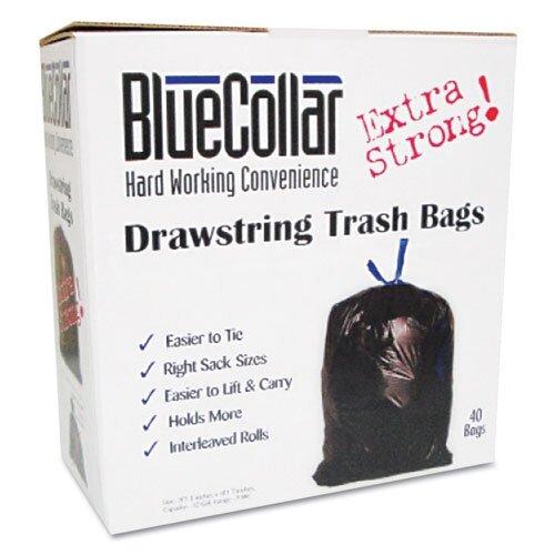 Unisan Bluecollar Drawstring Trash Bags, 40/Box