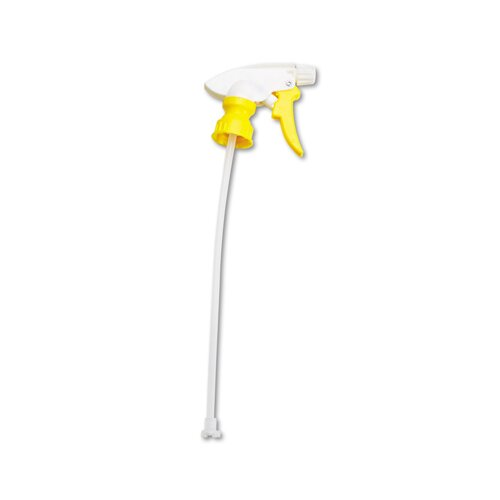 """Unisan 8"""" Chemical-Resistant Trigger Sprayer in White and Yellow"""