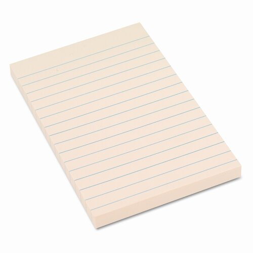 Universal® Recycled Sticky Notes, 4 X 6, Lined, Yellow; 12 100-Sheet Pads/Pack