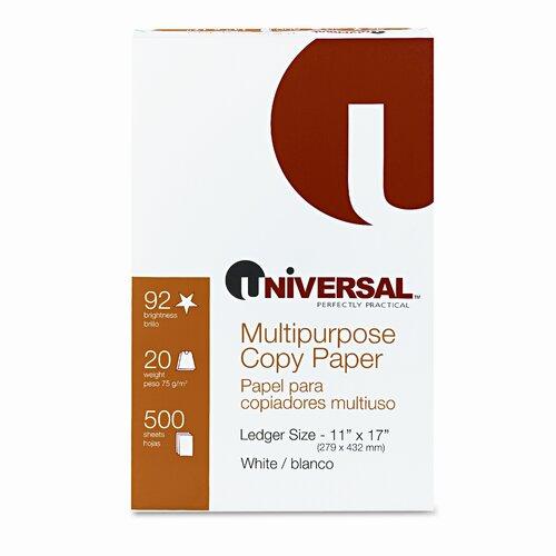 Universal® Copy Paper, 92 Brightness, 20Lb, 11 X 17, White, 2500 Sheets/Carton