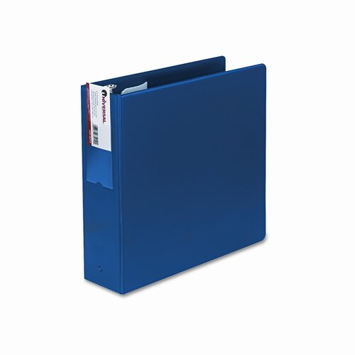 "Universal® Suede Finish Vinyl Round Ring Binder w/Label Holder, 3"" Capacity"