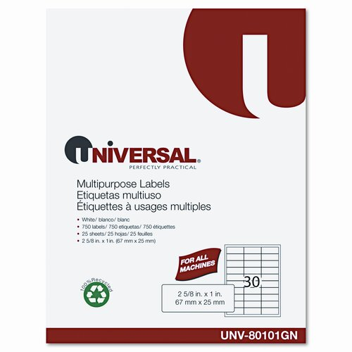 Universal® Laser Printer Permanent Labels, 300/Pack